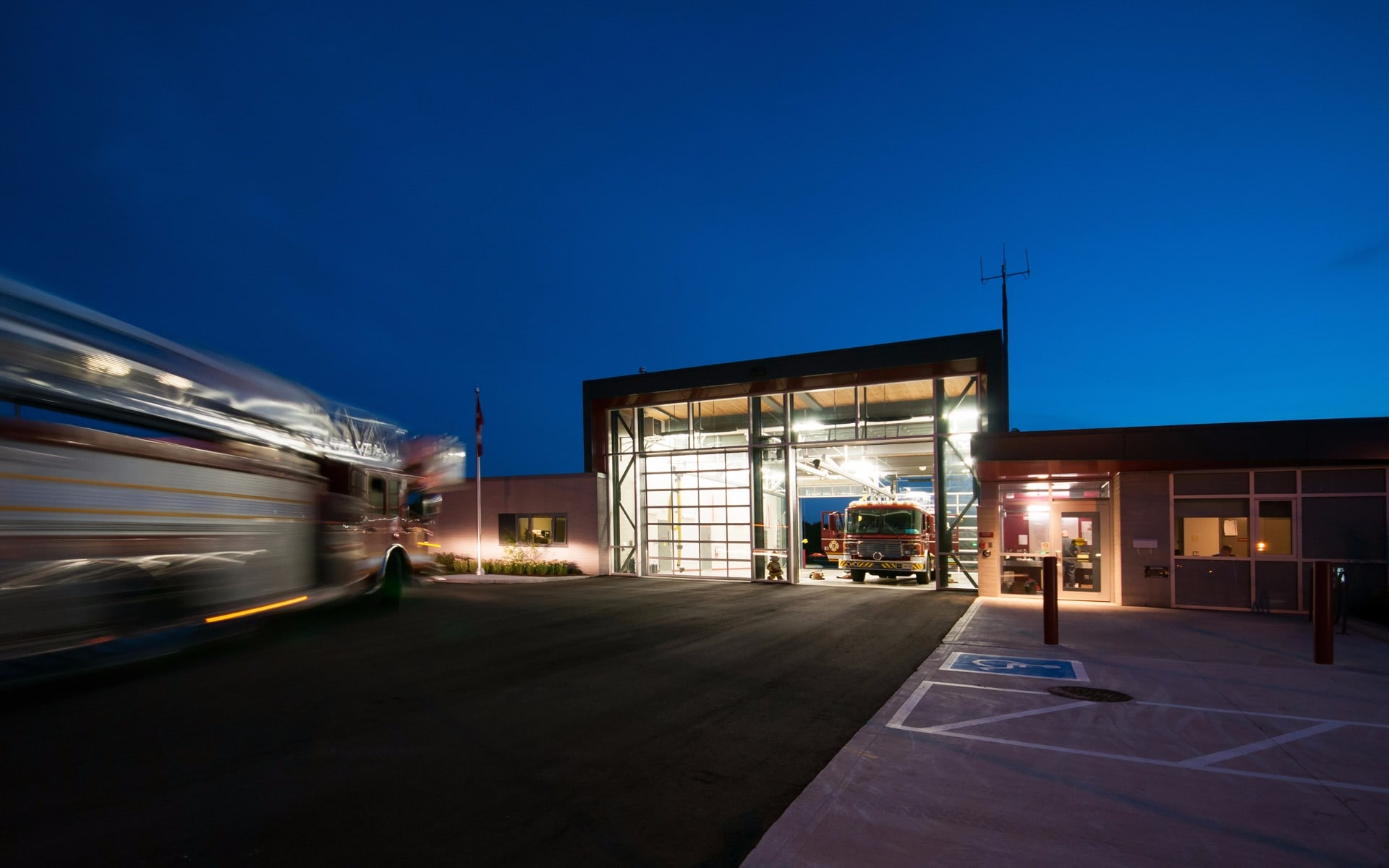 Twilight photo of the No. 7 Fire Station in London Ontario