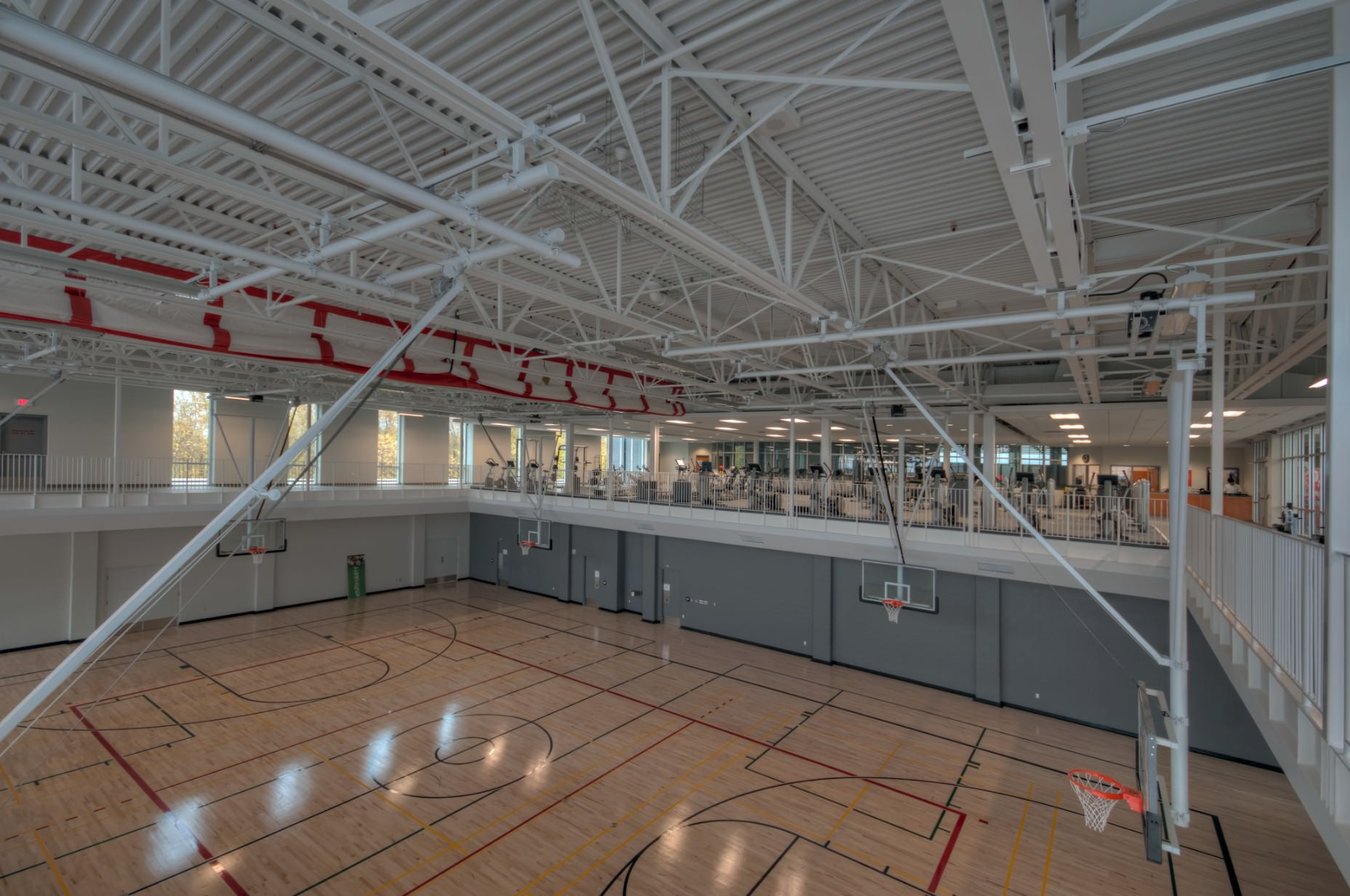Interior architectural photography of Gym at the Komoka Wellness Centre