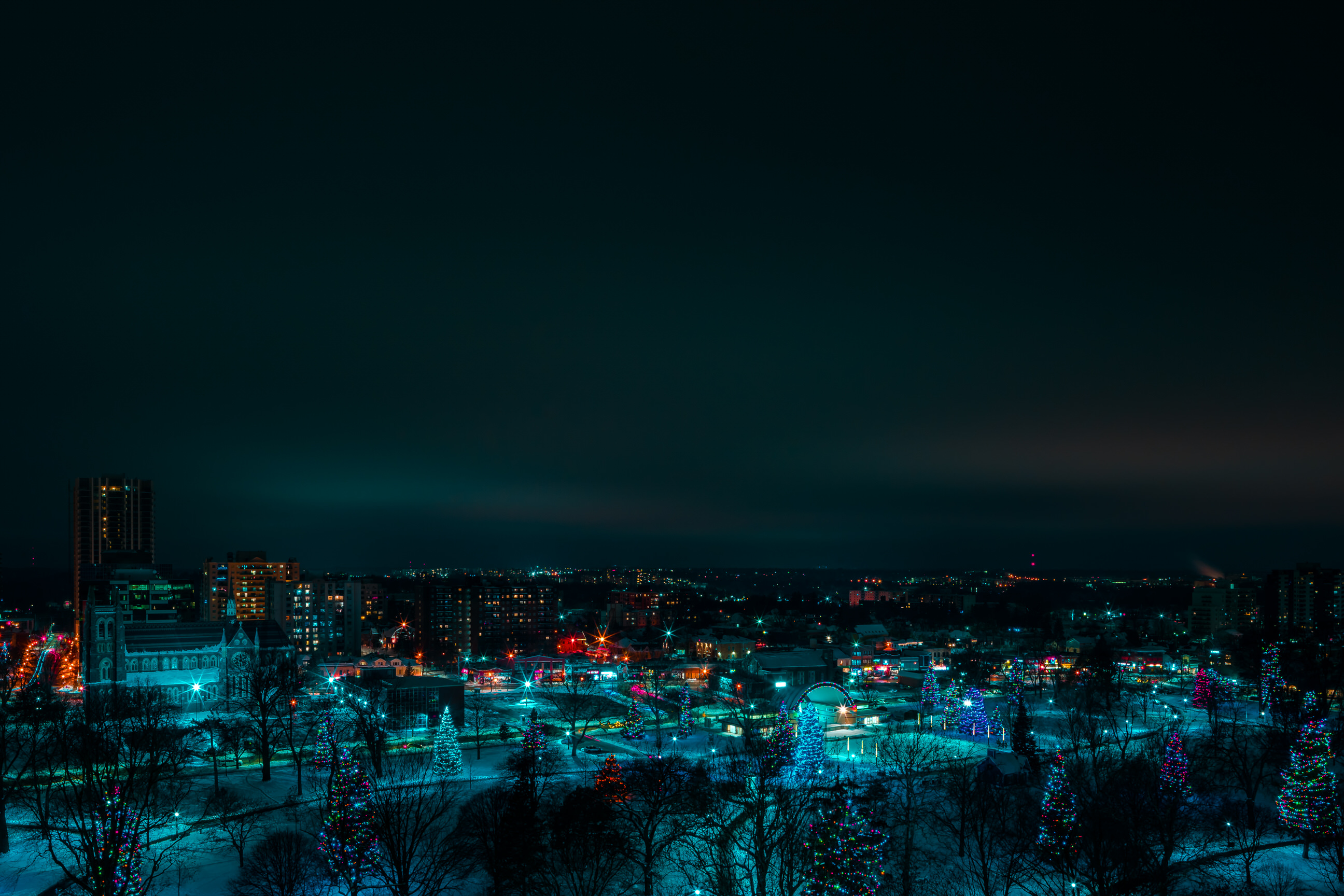 View of Victoria Park Christmas lights from City Hall London Ontario