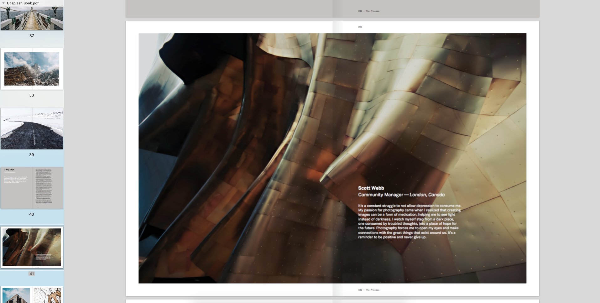 Digital image of my architectural photo in the Unsplash Book