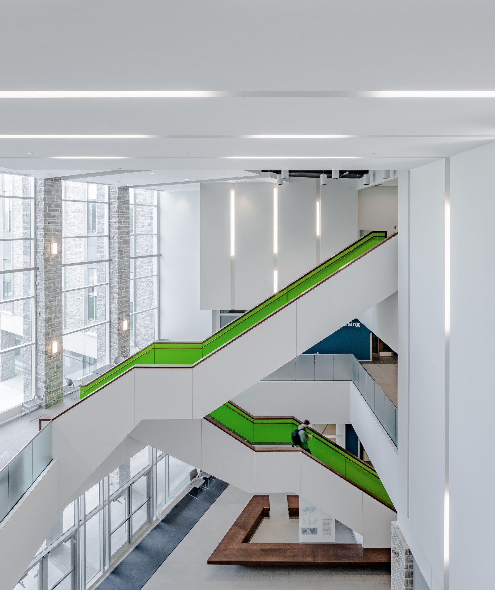 Interior photography of the atrium in the FIMS & Nursing Building on campus at western university
