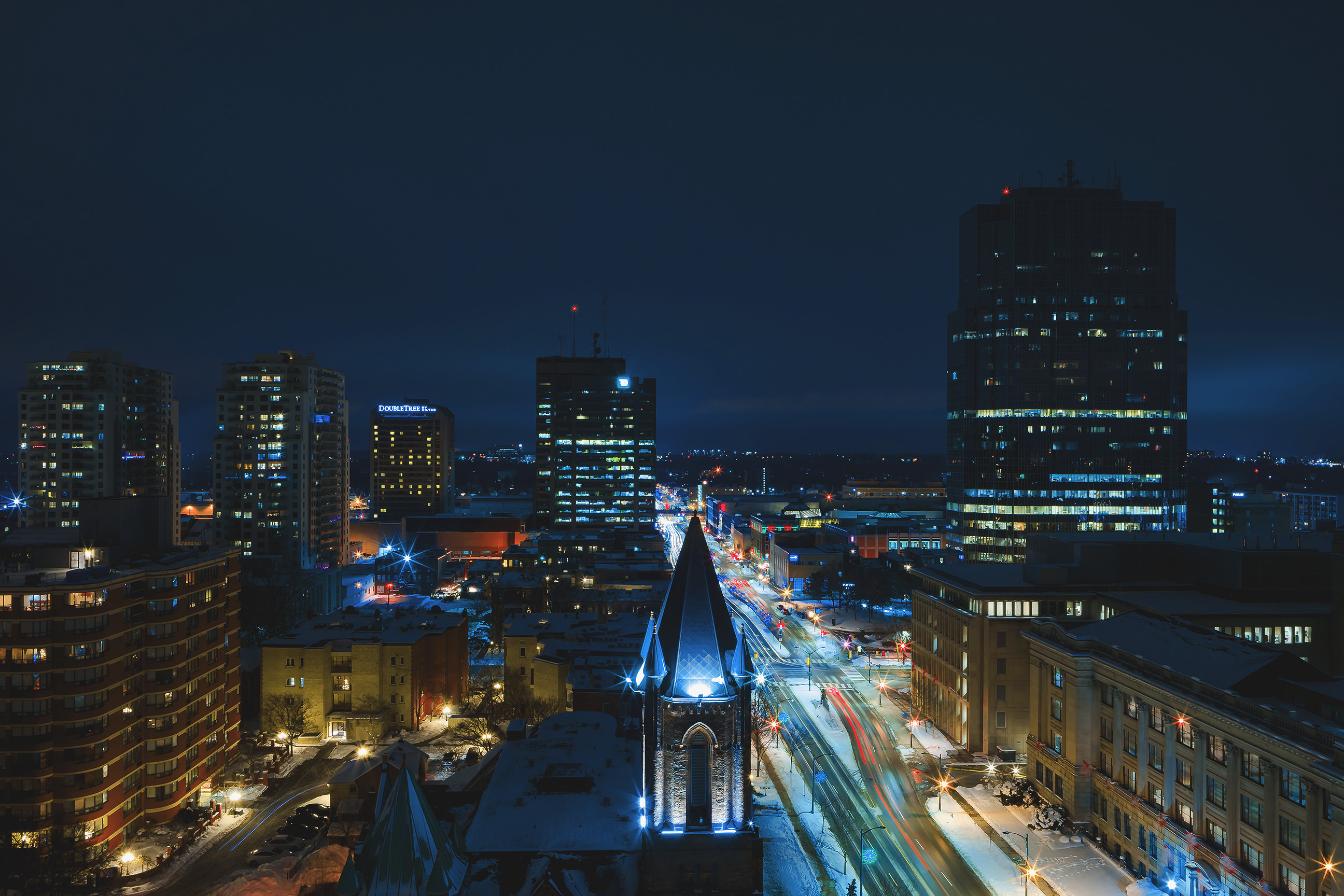 Edited version of photo from city hall overlooking downtown london at night