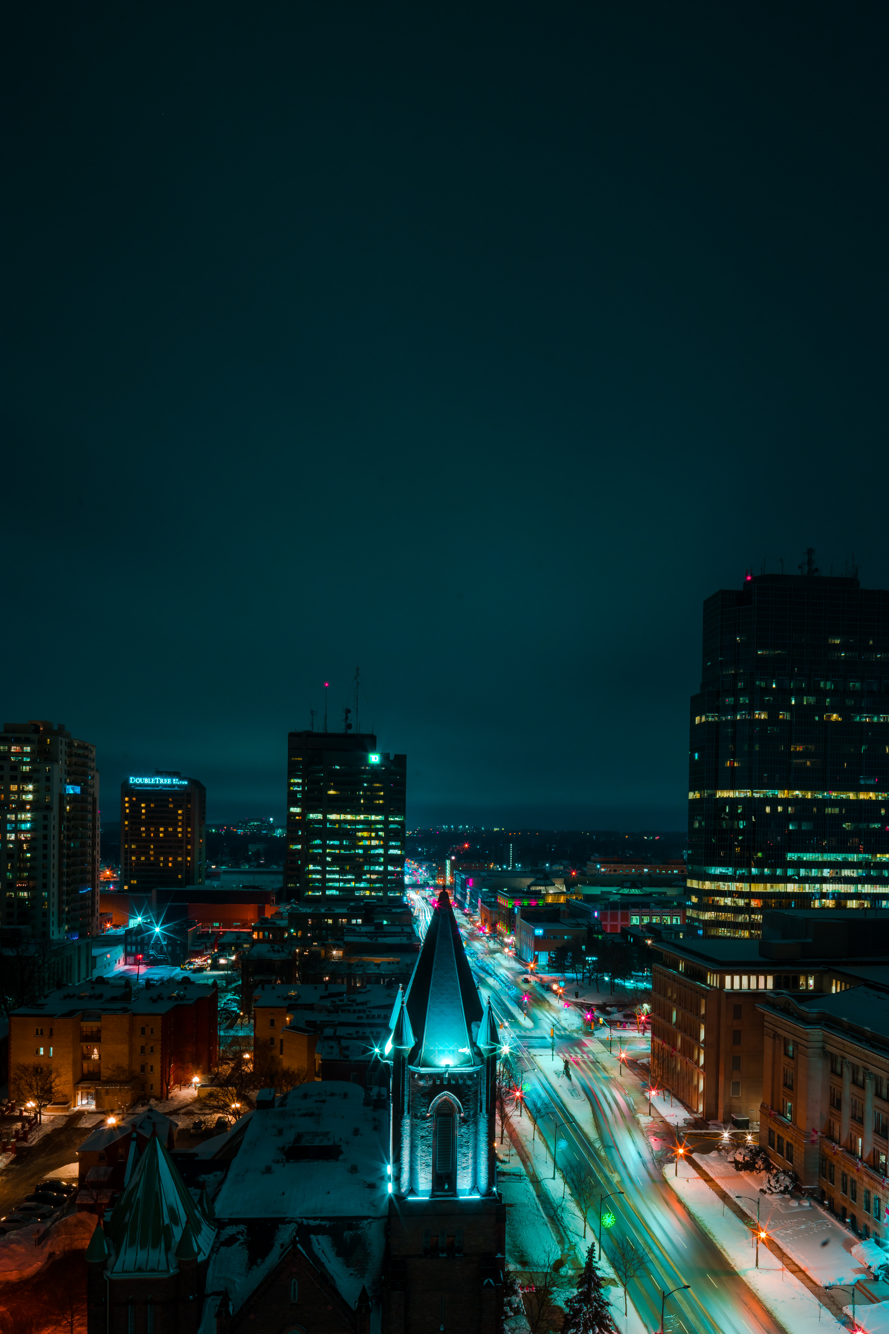 Looking down Wellington Street at night from above by Scott Webb Photography