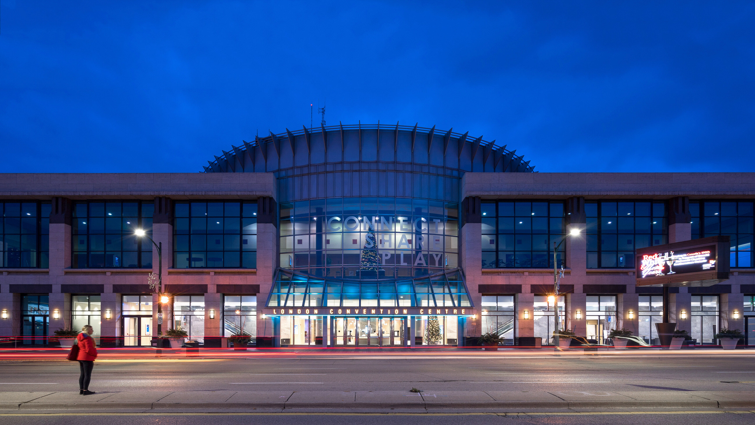 An architectural photo shot at twilight, looking at the London Convention Centre by Photographer Scott Webb