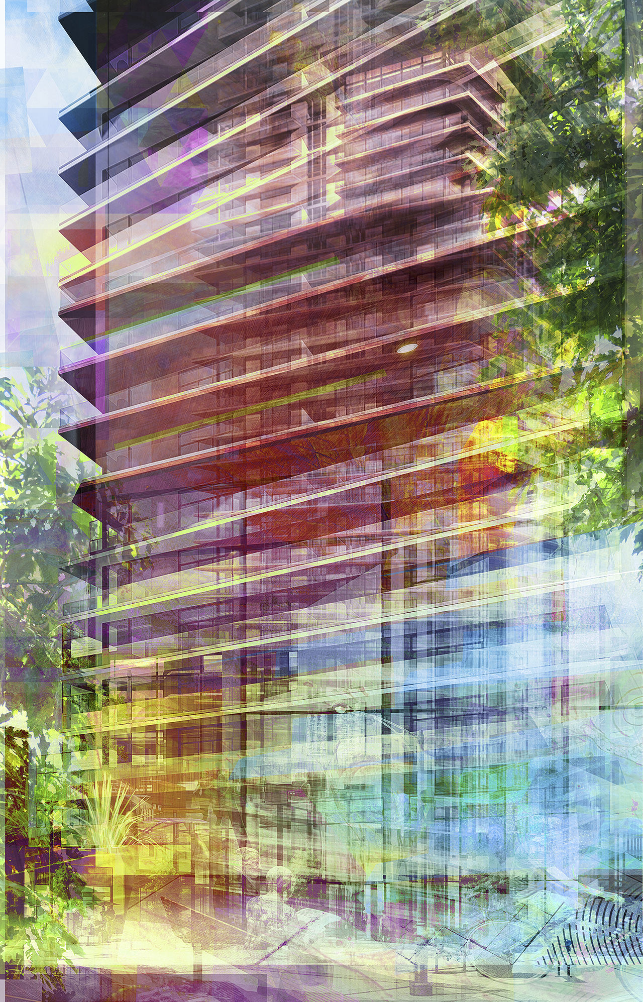 Commissioned Abstract architecture art of one richmond row condos and appartments for old oak properties office art